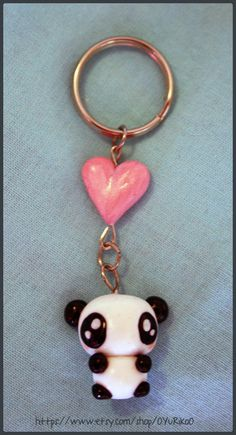 Polymer clay panda keychain by OYuRikoO on Etsy, $7.00, Please follow my clay board if you repin/like. :)