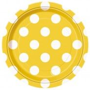 Sunflower Yellow Polka 7in Party Paper Plates