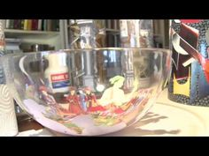 reverse decoupage on a glass plate DIY ideas decorations craft tutorial - YouTube