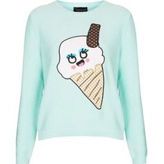 Sweater: jumper ice cream kawaii mint girly fashion fall fall outfits... ❤ liked on Polyvore featuring tops, sweaters, jumpers sweaters, mint sweater, mint green sweater, green jumper and mint green top