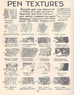 Beginners pen & ink techniques ~ nice to have your own version on this techniques cause we all draw differently. AMANDA TREVIZO: Basic skills are essential in art. This is a great chart on basic pen textures. Drawing Lessons, Drawing Tips, Painting & Drawing, Drawing Reference, Drawing Skills, Drawing Practice, Sketching Tips, Drawing Ideas, Drawing Techniques Pencil