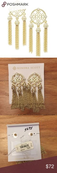 """Kendra Scott gold Adams earrings Delicate chain tassels flutter and sway in these dramatic drop earrings detailed with an intricate openwork design and gleaming mother-of-pearl cabochons. 3"""" drop; 1"""" width Post back 14k-gold or antique-silver plate/mother-of-pearl Imported Kendra Scott Jewelry Earrings"""