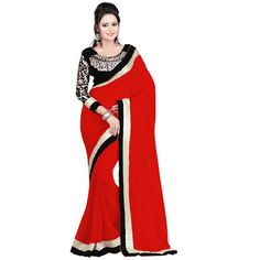 b29e39dae Hari Krishna Enterprise Self Design Bollywood Georgette Red Saree for Women
