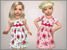 Set of 2 Toddler floral dresses one pink and white for everyday and formal wear  Found in TSR Category 'Sims 4 Toddler Female'
