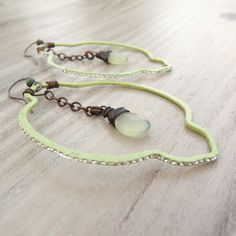 Large Moroccan Earrings  Lightweight Pale Green by GypsyIntent, $36.00