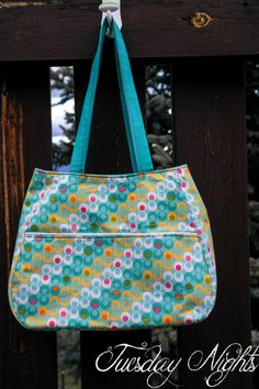 Ethel Dot Tote Bag Yellow White Teal Pink by TuesdayNights on Etsy, $40.00