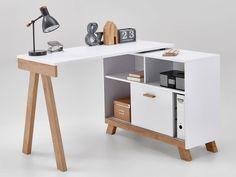 FMD Schreibtisch Falun 100, Weiß/Arlington Eiche - Lidl.de Home Office Furniture Design, Home Office Decor, Diy Home Decor, File Cabinet Desk, Desks For Small Spaces, Home Desk, Office Table, Diy Desk, Lidl