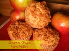far from normal: Cinnamon Streusel Apple Muffins Yummy Snacks, Delicious Desserts, Yummy Food, Other Recipes, Sweet Recipes, Breakfast Recipes, Dessert Recipes, Dessert Food, Breakfast Time