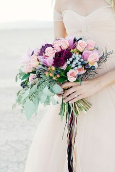 Dry Lake Bed bridal session in Las Vegas by Kristen Joy Photography with a blush Reem Acra wedding dress and pink and green bouquet. Bridal Bouquet Fall, Bridal Flowers, Flower Bouquet Wedding, Bride Bouquets, Bridesmaid Bouquet, Floral Bouquets, Purple Wedding, Floral Wedding, Wedding Day