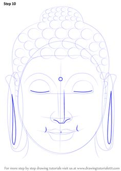Step by Step How to Draw Buddha Face : DrawingTutorials101.com