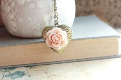 Heart Locket Necklace Pink Rose Shabby Chic by apocketofposies, $32.00