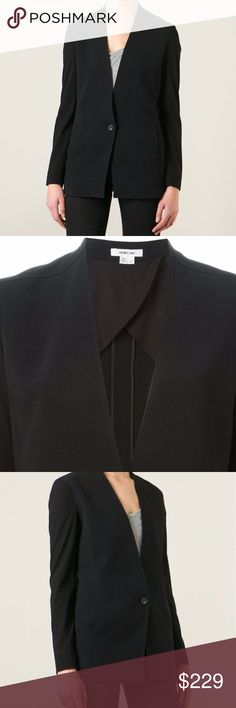HELMUT LANG Black Collarless One Button Jacket Beautiful, hardly worn, size 2 HELMUT LANG collarless jacket, blazer. The jacket is 95% Viscose, and has cotton sleeves that are a bit sheer, please see pictures. It has a one button closure, pockets on each side, and a slit (still closed, not opened yet) in the middle back. Very well made. Dry Clean only. Retail $371.  Check out my other items as I'm cleaning out my closet Helmut Lang Jackets & Coats Blazers