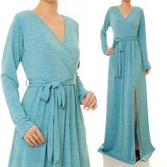 Jersey Abaya Maxi Dress | Long Sleeve Maxi Dress | Blue Maxi Dress | Slit Dress | Blue Abaya | Plus Size Maxi Dress With Sleeves 6271/2046 by Tailored2Modesty on Etsy