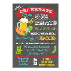 Beer, Brats and Diaper Baby Shower for Dad to be Invite