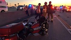 California Highway Patrol officials respond to an intentional crash involving at least six motorcycles near Irwindale Avenue in Irwindale on Saturday, April 16, 2016.
