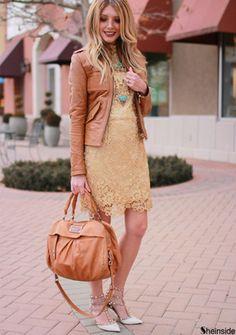 Champagne Long Sleeve Crochet Lace Dress -SheIn(Sheinside)