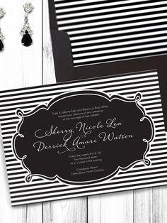 Black and White Striped Wedding PRINTABLE by NoDesignBoundaries, $29.95
