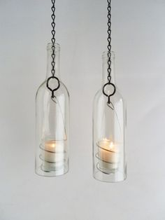 Two Clear Glass Wine Bottle Candle Holder Hanging Hurricane Lanterns | BoMoLuTra - Candles on ArtFire