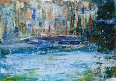 Lake (mixed media - gesso-bister-acrylic on paper - 30x40 - 030416)
