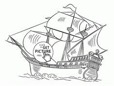 Spanish Galleon coloring page for kids, transportation coloring pages printables free - Wuppsy.com