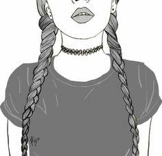 Örgülü saçlı kız cizimi superr