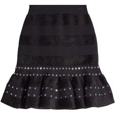 Alexander McQueen Embellished Skirt ($1,580) ❤ liked on Polyvore featuring skirts, black, alexander mcqueen, alexander mcqueen skirt, eyelet skirt, ruffle hem skirt and textured skirt