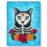 Day of the Dead Cat Sugar Skull Art Postcard by TigerpixieArt