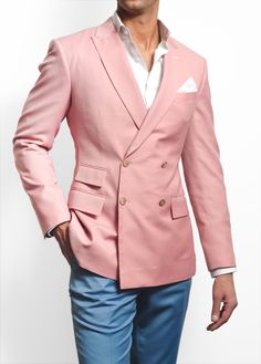Empire Customs Collection Peacock Pink Double Breasted Sportcoat. Featuring a single origin Italian 160 cashmere wool, our Peacock Pink Double Breasted Sportcoat is tailored to command curious consideration from all the right people in the room.