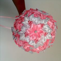 Saténová kytica pre nevestu K-2 ružová
