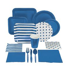 Blue tablecloth under the starry one to look like Coraline's sweater. $1.50 Blue Tableware - OrientalTrading.com