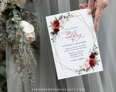 Invite friends and family in style and set the tone for your special day with this charming wedding invitation! #printable #wedding #reception #invitations #weddinginvitations #weddingstationery #SHdesigns Reception Invitations, Wedding Invitation Sets, Wedding Stationery, Burgundy And Blush Wedding, Blush Wedding Flowers, Invite Friends, Red Flowers, Rsvp
