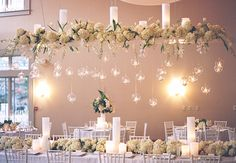 hanging reception flowers | Bamber Photography | blog.theknot.com