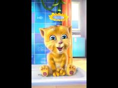 My Talking Ginger Baby Cat Shower Game on mobile. Talking Ginger needs your help!