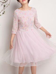 Pink Organza A-line Elegant Midi Dress