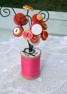 Pink Orange and Yellow Vintage Button Spool by MyFancifulNotions, $10.00