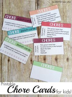 printable chore cards for kids from My Craftily Ever after - BrassyApple.com chore card, kid