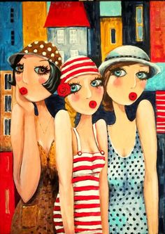 Abstract Face Art, Bff Drawings, Art Deco Illustration, Acrylic Paint Set, Whimsical Art, Portrait Art, Cute Art, Painted Rocks, Pop Art