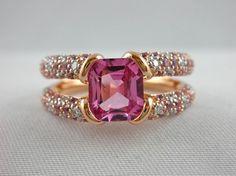 Jona Pink Spinel Sapphire Diamond 18k Rose Gold Ring…….