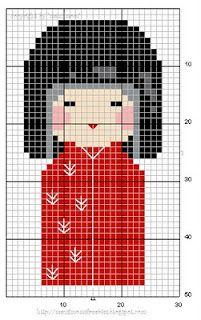 Kokeishi doll cross stitch. Nina kokeishi en punt de creu