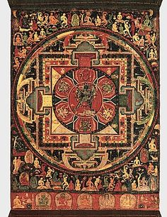 """The traditional way to create a mandala is to start at the center and expand outward on the design. The most basic form of a mandala has four """"T-shaped gates"""" and includes the colors yellow, red, green, and blue. Depending on how open you are with the def Buddhist Texts, Buddhist Art, Tibetan Art, Tibetan Buddhism, Tibetan Mandala, Vajrayana Buddhism, Thangka Painting, Sacred Art, Ancient Art"""