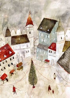 """Katie Harnett Illustration possibly for a book. It's a sweet picture the Christmas Tree with streamers leading to houses. Lunch time now. Art And Illustration, Christmas Illustration, Illustrations Posters, Illustration Children, Art Populaire, Inspiration Art, Naive Art, Art Design, Christmas Art"