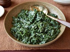 Creamed Kale - this is so yummy!  The first time I used both kale and chard, and this time I had 2 different kinds of kale.  Delicious both times!  I cooked up some bacon and onions in the pan first, then added half the butter before adding the kale, cream, and nutmeg.  Make sure you season it well, enough salt REALLY makes a difference!
