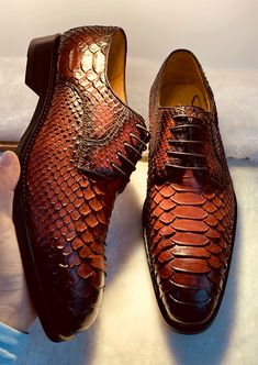Business Snakeskin Shoes, Casual Python Skin Shoes for Men is part of Shoes - How about bringing fashion into every day casual wear BRUCEGAO has planned ahead and done that for you! These genuine snakeskin shoes bring casual to the next level Loafer Shoes, Men's Shoes, Shoe Boots, Dress Shoes, Shoes Men, Men Dress, Mens Fashion Wear, Fashion Moda, Python