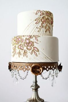 pink gold brush embroidery details ~ The Caketress, Lori Hutchinson Designs // photography: Montreals Monique Simone Photography // cake stand: Montreals Principal Planner Cake Stand Rental from Montreals Principal Planner let-them-eat-cake Fall Wedding Cakes, Beautiful Wedding Cakes, Gorgeous Cakes, Pretty Cakes, Gold Wedding, Amazing Cakes, Elegant Wedding, Bronze Wedding, Luxe Wedding