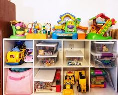 Use these toy organization ideas to create organization systems for children. Kids can easily identify where their toys go and put them away.