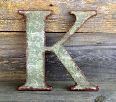 "Letter K, 12"" Wood Letter Wall Decor, Distressed Green Print, Decoupaged and Painted ...............Free US Shipping"
