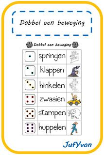 ©JufYvon: Gespot: dobbel een beweging. Met hogere getallen. Lkr. geeft som. Learning Activities, Kids Learning, Activities For Kids, School Sports, Kids Sports, Yoga For Kids, Exercise For Kids, Primary School, Pre School