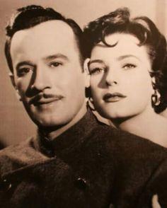 """Pedro Infante y Miroslava Sternova en """"Escuela de Vagabundos"""".-1956"""