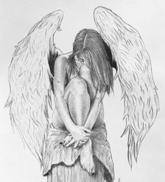 It will be all right by miguellore on DeviantArt This is a drawing I finished only about a month ago. i was fed up with not being able to see an Angel picture from the side, so I used a friend to draw her body and drew the wings similar to my las. Sad Drawings, Art Drawings Sketches, Pencil Drawings, Drawings Of Angels, Small Angel Tattoo, Fallen Angel Tattoo, Tattoo Small, Angel Sketch, Angel Drawing