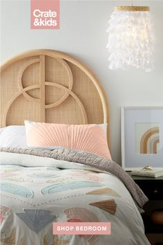 With our Circle Cane Headboard as the centerpiece, this elevated kid's room blends natural materials and warm pastels. Room Ideas Bedroom, Girls Bedroom, Bedroom Decor, Girls Room Paint, Bedrooms, My New Room, My Room, Girl Room, Green Nightstands